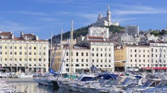 Yachts in the old port of Marseille Stock Footage