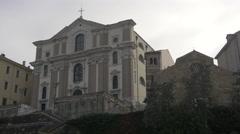 Santa Maria Maggiore Church and San Silvestro Church in Trieste Stock Footage
