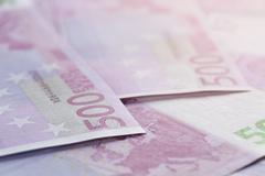 500 euros bills as a background - stock photo