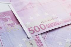 500 euros bills as a background Stock Photos