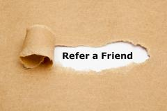 Refer a Friend Torn Paper Stock Photos