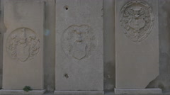 Stone plaques with bas-reliefs at Cattedrale di San Giusto Martire, Trieste Stock Footage
