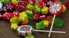 Assortment of colorful fruit jelly candy - stock footage