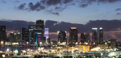 Miami City skyline panorama at night Stock Photos