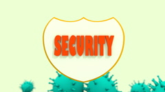 Shield with security text and virus models. security programm abstract Stock Footage