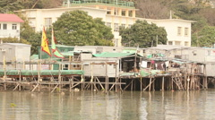 Stilt houses. Fishing Village. Hong Kong Stock Footage