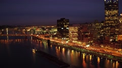 Aerial shot of Pittsburgh Golden Triangle at night Stock Footage