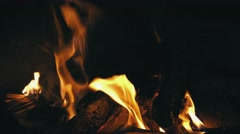 Closeup of Flames Burning on Black Background - stock footage