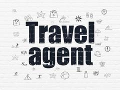 Stock Illustration of Tourism concept: Travel Agent on wall background