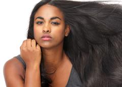 Beautiful young woman with flowing hair Stock Photos