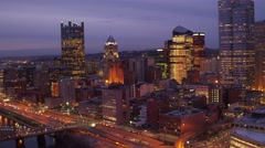 Aerial of Pittsburgh at night featuring skyline  Stock Footage