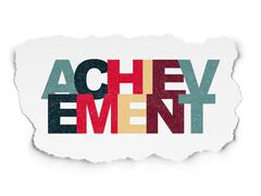 Studying concept: Achievement on Torn Paper background Stock Illustration