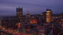 Aerial of Pittsburgh from Mon at night featuring PPG Place Stock Footage