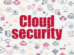 Cloud computing concept: Cloud Security on wall background Stock Illustration