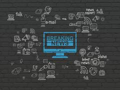 News concept: Breaking News On Screen on wall background Stock Illustration