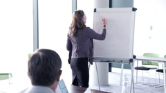 Business woman interacting and writing on white board - stock footage