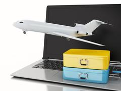 3d Travel suitcase and airplane on computer keyboard. - stock illustration