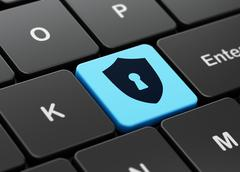 Protection concept: Shield With Keyhole on computer keyboard background - stock illustration