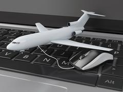 3d airplane and computer mouse on computer keyboard. - stock illustration