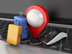 3d Travel suitcase and computer mouse on computer keyboard. - stock illustration