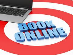 3d Laptop pc. Online booking concept. Stock Illustration
