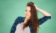 happy smiling pretty teenage student girl - stock photo