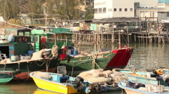 Stilt houses, fishing boats. Tai O Village. Stock Footage