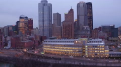 Aerial of Pittsburgh from over the Mon River Stock Footage