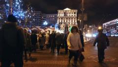 People and tourists in the evening the streets of Moscow Stock Footage