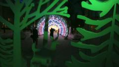 People and tourists walk along Moscow decorated Stock Footage