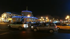 Night traffic NEAR Moscow Rail Terminal Stock Footage