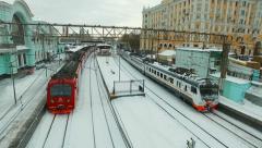 Modern high speed train at the railway station Belorusskaya Stock Footage