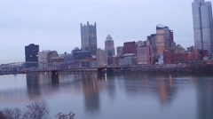 Aerial of Pittsburgh from Station Square featuring PPG Place Stock Footage