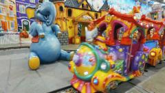 Children's train ride at the Christmas / New Year's Fair - stock footage