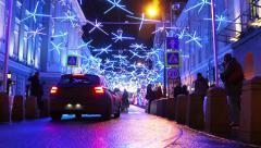 people and cars on the street Bolshaya Dmitrovka - stock footage