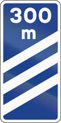 Road sign used in Spain - Highway exit distance marker - stock illustration