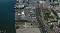 Flight following Lake Shore Boulevard to view of downtown Toronto, Ontario. Shot Stock Footage