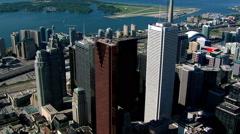 Partial orbit of financial district skyscrapers in Toronto, Ontario. Shot in - stock footage