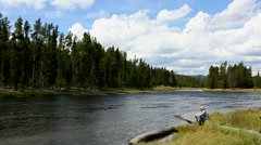 Firehole River Yellowstone National Park Man - stock footage