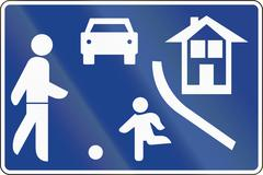 Road sign used in Spain - Residential area - stock illustration