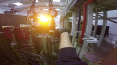 Worker Operating an Overhead Crane Stock Footage