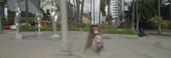 Right Side view of a Driving Plate. Car turns right from La Brea Avenue onto Stock Footage
