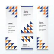 Triangle pattern  banner  orange and blue color - stock illustration