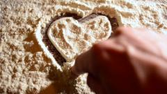 Valentine and heart on flour Stock Footage