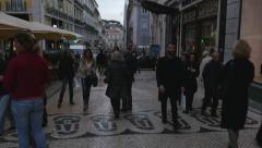 People Walking on Bairro Alto, Lisbon, Portugal Stock Footage