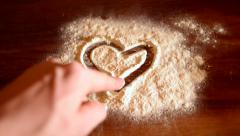 Valentine on flour. Stock Footage