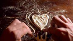 timelapse Valentine and heart on flour - stock footage