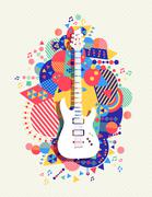 Stock Illustration of Electric guitar icon concept music color shape