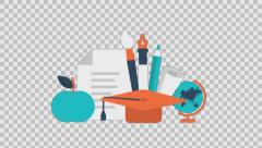 EDUCATION 4 - colored animation flat computer generated icons clips alpha - stock footage