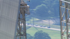 Close flight to view drawbridge-like rooftop - stock footage